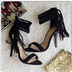 """⭐️ALL SIZES!⭐️NIB Black Ankle Fringe Heels NIB Black Ankle Fringe Heels. These fun heels dress up any outfit! Gathered ankle fringe detail with gold zipper closure in back. 4 inch heel. Padded footbed for comfort. Ankle strap is about 9-10"""" around. True to size. Available in 5, 6, 6.5, 7, 7.5, 8, 8.5, 10. No Trades and No Paypal⭐️️PLEASE DO NOT BUY THIS LISTING, COMMENT WITH SIZE AND I WILL MAKE A NEW LISTING TO BUY⭐️Sold out of 5.5, 9's Shoes Heels"""