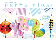 Whimsical bug party kit - $12 -- I love the straw toppers
