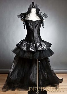 image of Black Fashion Gothic Corset Burlesque High-Low Prom Party Dress