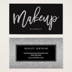 Makeup artist modern silver glitter typography business card