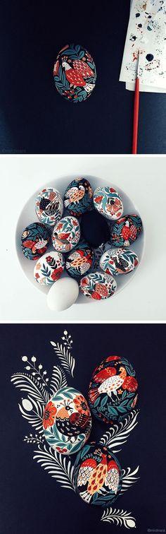 Painted eggs by Dinara Mirtalipova // folk-inspired illustration // egg art