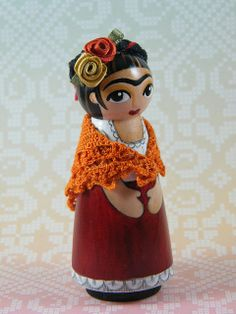Frida Peg Doll by My Mayan Colors, via Flickr