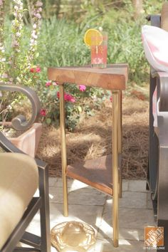 Trendspotting: Unique DIY side tables. Triangles and copper accents are a plus!