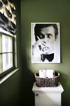 Love quirky art in the bathroom. Thyme Green Walls, Roger Moore Art, Tonic Living Roman Shade - shade fabric for guest powder room Quirky Decor, Quirky Art, Downstairs Bathroom, Bathroom Art, Bathroom Ideas, Art For The Bathroom, Target Bathroom, Quirky Bathroom, Disney Bathroom