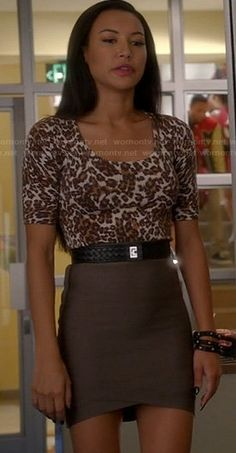 Santana's leopard print top and taupe bandage skirt on Glee Glee Fashion, Fashion Outfits, Film Fashion, Fashion Hair, Fashion Ideas, Womens Fashion, Bandage Skirt Outfit, Leopard Print Top, Cheetah