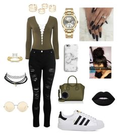 Untitled #13 by queendaiii on Polyvore featuring polyvore, fashion, style, T By Alexander Wang, adidas, Givenchy, Rolex, Harper & Blake, Victoria Beckham, Helen Moore and clothing