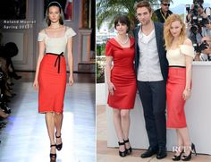 Sarah Gadon in Roland Mouret red-and-ivory 'Herbert' frock from the Spring 2012 collection before her at Cannes 2012