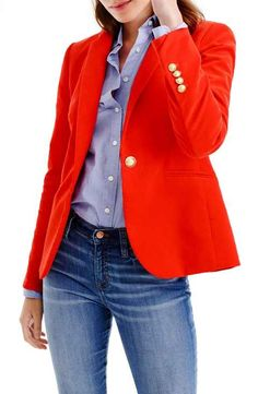 Love this red corduroy blazer for fall Red Blazer Outfit, Look Blazer, Blazer With Jeans, Dark Jeans, Jean Outfits, Fall Outfits, Fashion Outfits, Looks Jeans, Corduroy Blazer