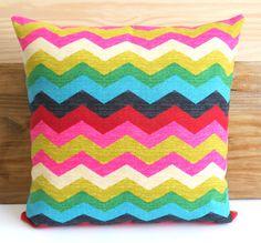 Decorative pillow cover, Multicolor chevron pillow on Etsy, $28.00