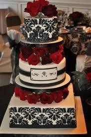 Black and White Damask wedding cake Damask Wedding, Red Wedding, Wedding Events, Weddings, Perfect Wedding, Wedding Stuff, French Wedding, Wedding Bells, Beautiful Cakes