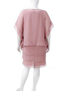 Dana Kay 2-pc. Pink Chiffon Poncho & Dress Set – Plus-sizes |Stage Stores