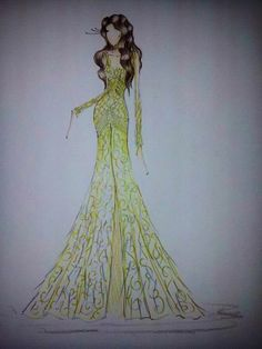 gold dress sketch - girls room