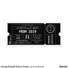 prom invitations Vintage Playbill Theatre Ticket W - prom Prom Invites, Wedding Invitations, Vintage Invitations, Zazzle Invitations, Serpentina, Ticket Design, Ticket Invitation, Invitation Ideas, Ticket Template