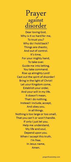 Prayer against disorder
