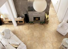 BuildDirect – Elements Series Porcelain Tile – Earth - Living Room View