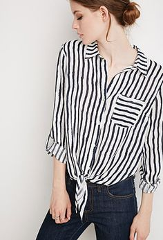 Tie-Front Striped Shirt