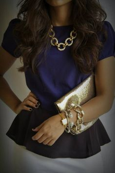 Classy outfit: Dark Navy and Gold. via tasteofthesouth #laylagrayce #metallic #handbag