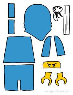 Lego Ninjago printable cutout for toddler gluestick art: The Blue Ninja, Jay