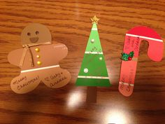 Cute Christmas gift tags made from paint chips! Got the idea for the tree from  another pin but the candy cane and gingerbread man are just as easy to make!