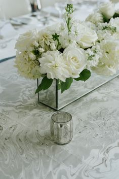 Low Floral Centerpieces Modern White Wedding Floral At In Custom Marble Runner Planning Floral Arrangement With Candles White Flower Centerpieces, Modern Flower Arrangements, Table Flowers, Flower Decorations, Wedding Centerpieces, Wedding Decorations, Tall Centerpiece, Centrepieces, Wedding Reception Flowers