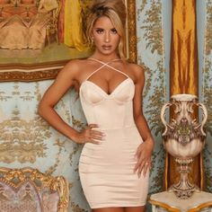 Sexy Halter Bandage V Neck Runway Mini Party Dresses #Bodycondress #spring2021 #Womenoutfits #fashion #likeforlike #comment #followforfollow White Bandage Dress, Bodycon Dress, Cheap Dresses, Sexy Dresses, Apricot Dress, Club Dresses, Party Dresses, Women's Summer Fashion, Holiday Outfits
