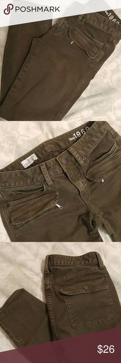 GET THE LOOK! Moto style crop jeans excellent condition great fall look, dark olive green color moto ankle jeans...gap 1969 GAP Jeans Ankle & Cropped