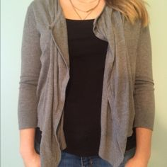 """Grey open cardigan from LOFT This cardigan is barely worn & in perfect condition! It's a-symmetrical, so the back is shorter than the front. Back length is 21"""", front goes measures an additional five inches. Sleeves are meant to be fitted. 100% cotton. LOFT Sweaters Cardigans"""