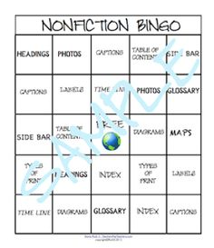 Students learn nonfiction text features when they play Bingo and earn points for the Bingo contests! priced item