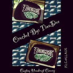 Crochet By: TinaDee Custom crochet headrest covers Philadelphia Eagles