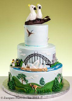 Our wedding cake design Themed Wedding Cakes, Themed Cakes, Fondant Cakes, Cupcake Cakes, Cupcakes, Beautiful Cakes, Amazing Cakes, Bon Voyage Cake, Australia Cake