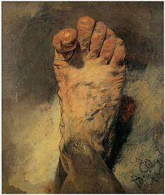 Adolph von Menzel, Der Fuß des Künstlers, 1876 (Öl auf Pappe, 38,5 x 33,5 cm)