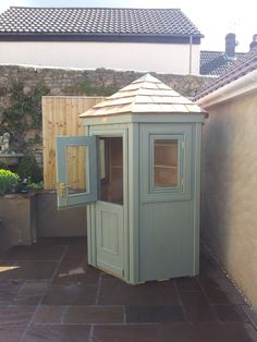 A hexagonal shed with stable door