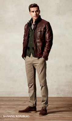 """""""A refined leather jacket makes everything cooler. Over a sweater and teamed with khakis, style's the order of the day."""""""