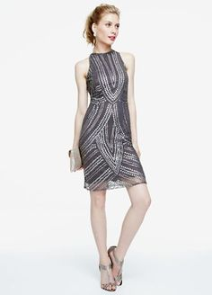 Classy and stylish, you can have the best of both worlds in this gorgeous all over beaded dress!  Sleeveless dress features all over beautiful beaded detail.  High neckline is chic and creates a stunning focal point.  Fully lined. Back zip. Imported rayon. Spot clean.