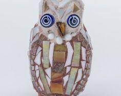 Tiny mosaic owl with bead eyes and neck by Zorra Creative Fox Studio