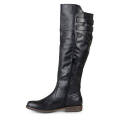 Women's Extra Journee Collection Double Buckle Knee-High Riding Boots - Black 10 Extra Wide Calf