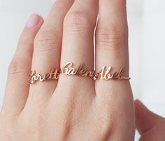 Custom Name Ring - Personalized Name Ring - Your Name on Ring - Custom Name Jewelry Gold, Rose Gold, Silver PR04F11 by GracePersonalized on Etsy https://www.etsy.com/listing/234617579/custom-name-ring-personalized-name-ring