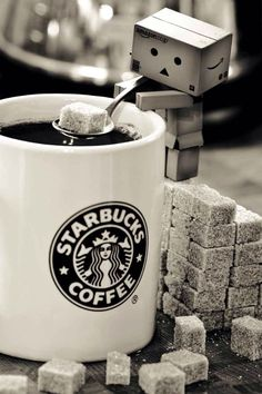 Danbo and a cup of Starbucks Cofee with sugar