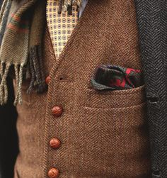 tweed vest with lots of textures/ patterns