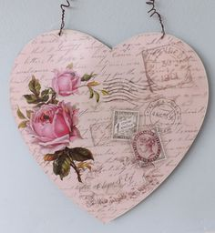 pink shabby chic things | Shabby Vintage French Style Chic Tin Plaque Paris Pink Rose Metal ...