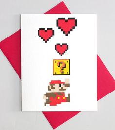 Super Mario I Love You / Anniversary 8 Bit Hearts Card    DESIGN:    Mario 8 Bit Pixel Hearts    SENTIMENT: Forget mushrooms! All I need is you!