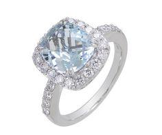 Bague or blanc 18 cts , aigue-marine et diamant.
