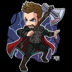 Thor - Avengers Infinity War by Captain Marvel, Marvel Avengers, Captain America, Chibi Marvel, Avengers Cartoon, Marvel Cartoons, Marvel Art, Marvel Heroes, Thor
