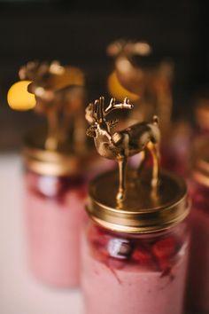 Painted deer on top of dessert jar! Amazing party! Via Kara's Party Ideas                                                                                                                                                                                 More