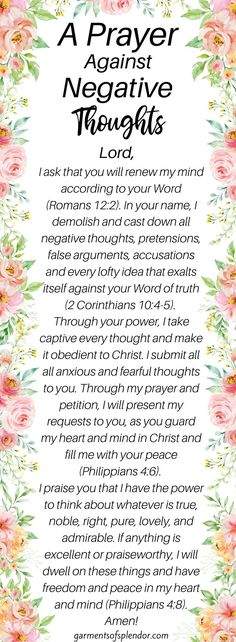 A Prayer Against Negative Thoughts - - Do you need to break a stronghold in your life? Get encouragement through God's Word and break the strongholds that are holding you back from true freedom! Prayer Scriptures, Bible Prayers, Faith Prayer, God Prayer, Prayer Quotes, Bible Verses Quotes, Praise God Quotes, Healing Scriptures, Encouraging Bible Verses