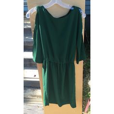 ZARA Dark Emerald Green Slit Sleeve Dress Absolutely gorgeous dress • Worn only once or twice • no stains, marks, rips nor tears • Stunning on! • Elastic waist • Size XS but can also fit a small • Zara Dresses