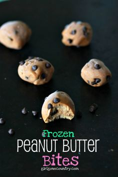 MIX 1/2 cup PB, 1 tbsp coconut flour, 1 tbsp honey,1 tsp vanilla, sea salt and chocolate chips together. Next, form the dough into bite size treats. Place them in the Freezer for some delicious Frozen Peanut Butter Bites!