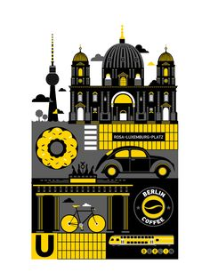 St. Petersburg freelance illustrator Xenia Bystrova created a four poster series of Berlin, Amsterdam, Helsinki and Copenhagen. This is the Berlin poster which features iconic places, buildings and objects, such as the famous Brandenburger Tor, Fernsehturm and the Berlin Dom (Cathedral).