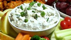 Blue cheese crumbles kindly lend their distinctive flavor to this simple, smooth mixture. Serve with corn chips. This dip tastes better the longer it chills before serving.