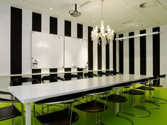 Office Decorating Idea Using Black and White Stripe Wall Paint and Green Floor
